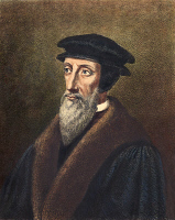 0009836 © Granger - Historical Picture ArchiveJOHN CALVIN (1509-1564).   French theologian and reformer. Contemporary lithograph, 19th century.