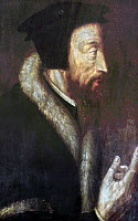 0024585 © Granger - Historical Picture ArchiveJOHN CALVIN (1509-1564).   French theologian and reformer. 16th century painting by an unknown artist.