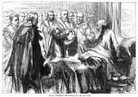 0058925 © Granger - Historical Picture ArchiveJOHN CALVIN (1509-1564).   French theologian and reformer. Calvin addressing the council of Geneva, Switzerland, for the last time, 1564. Wood engraving, 19th century.