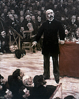 0266187 © Granger - Historical Picture ArchiveGEORGES CLEMENCEAU   (1841-1929). French statesman. Giving a speech at a political gathering at the Cirque Fernando in Montmartre, Paris. Oil on canvas, 1885, by Jean François Raffaelli.