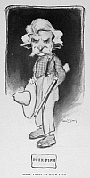 0101407 © Granger - Historical Picture ArchiveSAMUEL LANGHORNE CLEMENS   (1835-1910). American writer and humorist. Mark Twain as Huck Finn. Caricature by Red(?) Lewis, 1901.