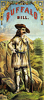 0116003 © Granger - Historical Picture ArchiveWILLIAM F. CODY (1846-1917).   William Frederick Cody. Known as Buffalo Bill. American frontiersman and showman. Buffalo Bill in buckskin clothing, carrying a rifle and handgun. Lithograph, American, c1870.