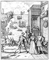 0005947 © Granger - Historical Picture ArchiveCHRISTOPHER COLUMBUS   (1451-1506). Italian navigator. The departure of Christopher Columbus from Palos, Spain, 3 August 1492. Etching from Antonio de Herrera y Tordesillas' 'Historia genereal de las Indias Occidentales,' 1728, after an engraving, 1594, by Theodor De Bry.