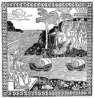 0017412 © Granger - Historical Picture ArchiveCOLUMBUS IN NEW WORLD.   The earliest depiction of Christopher Columbus landing in the New World in 1492. Woodcut from Giuliano Dati's 'Narrative of Columbus,' Florence, Italy, 1493.