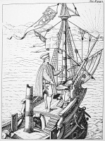 0017972 © Granger - Historical Picture ArchiveCHRISTOPHER COLUMBUS   (1451-1506). Italian navigator. Woodcut, Italian, 17th century, after an engraving by Theodor de Bry.