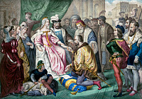 0622451 © Granger - Historical Picture ArchiveCHRISTOPHER COLUMBUS   (1451-1506). Italian navigator. Columbus kneeling in front of Queen Isabella I Spain. Color lithograph, c1845.