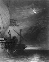 0622459 © Granger - Historical Picture ArchiveCHRISTOPHER COLUMBUS   (1451-1506). Italian navigator. Columbus on the deck of his ship at night. Engraving, c1843, by John Sartain after a painting by Joseph Mallord William Turner.