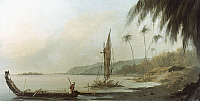0025149 © Granger - Historical Picture ArchiveCOOK: TAHITI, 1773.   Point Venus, Tahiti, from Captain James Cook's second voyage, 1773. Oil by William Hodges.