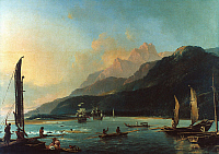 0025167 © Granger - Historical Picture ArchiveCOOK: TAHITI, 1773.   Matavai Bay and Point Venus, Tahiti, c1773. Oil by William Hodges.