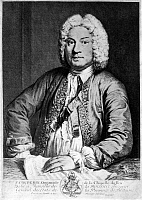 0047857 © Granger - Historical Picture ArchiveFRANCOIS COUPERIN   (1668-1733). French composer and organist. Copper engraving, 1725, by Joseph Flipart after A. Bouys.
