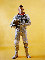 0269090 © Granger - Historical Picture ArchiveGORDON COOPER (1927-2004).  Leroy Gordon Cooper Jr. American astronaut. Photographed wearing a spacesuit during Mercury-Atlas 9 prelaunch activities, 1962.