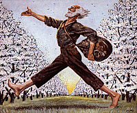 0023304 © Granger - Historical Picture ArchiveJOHN CHAPMAN (1774-1845).   American pioneer known as 'Johnny Appleseed.' Illustration by Floyd MacMillan Davis (1896-1966).