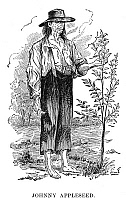 0042034 © Granger - Historical Picture ArchiveJOHN CHAPMAN (1775-1845).   Known as Johnny Appleseed. American pioneer. Wood engraving, 19th century.