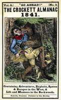 0008497 © Granger - Historical Picture ArchiveDAVY CROCKETT (1786-1836).   American soldier and frontiersman. Davy Crockett, with the help of his dog, fighting a bear on the cover of the Crockett Almanac, Nashville, 1841.