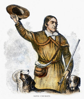 0087042 © Granger - Historical Picture ArchiveDAVY CROCKETT (1786-1836).   American frontiersman. Wood engraving, 1883.