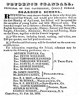 0125253 © Granger - Historical Picture ArchiveLIBERATOR: CRANDALL'S AD.   Prudence Crandall's advertisement in 'The Liberator,' 1833, announcing the opening of her school in Canterbury, Connecticut, to 'young Ladies and little Misses of color' and offering the names of leading abolitionists as references.