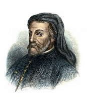 0051581 © Granger - Historical Picture ArchiveGEOFFREY CHAUCER   (c1340-1400). English poet. Etching and engraving, American, 1876.