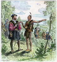0011163 © Granger - Historical Picture ArchiveJACQUES CARTIER   at the Huron-Iroquois village of Hochelaga (at present-day Montreal) in 1535, where he learned from the Native Americans that silver and gold could be found nearby. Illustration by C.W. Jefferys.