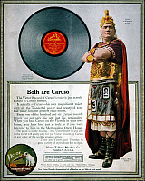 0009603 © Granger - Historical Picture ArchiveENRICO CARUSO (1873-1921).  Victor Talking Machine Co. advertisement featuring Caruso as Rhadames in Verdi's 'Aida' from an American magazine of 1914.