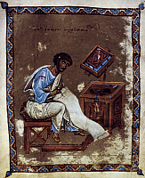 0024127 © Granger - Historical Picture ArchiveST JOHN CHRYSTOSTOM.   (c347-407). Syrian prelate. Miniature from an 11th century manuscript.