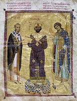 0115800 © Granger - Historical Picture ArchiveST. JOHN CHRYSOSTOM   (c347-407). Syrian prelate. St. John, left, presenting Byzantine Emperor Nicephorus Botaniates with his collected sermons. Byzantine manuscipt illumination from 'Homilies of St. John Chrysostom,' 1078-1081.