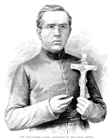 0050416 © Granger - Historical Picture ArchiveJOSEPH DAMIEN DE VEUSTER   (1840-1889). Belgian Roman Catholic missionary to the Hawaiian people. Wood engraving, English, 1889.