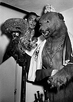 0432766 © Granger - Historical Picture ArchiveSALVADOR DALI.   Spain, Catalonia  - Salvador Dali with stuffed bear in his house in Port Lligat, Figueres, 1957. Photo Erich Andres. Full credit: United Archives / Granger, NYC -- All rights reserved.