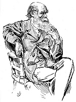 0033680 © Granger - Historical Picture ArchiveCHARLES ROBERT DARWIN  (1809-1882). English naturalist. Pen-and-ink drawing by Harry Furniss (1854-1925).