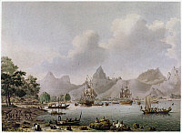 0109984 © Granger - Historical Picture ArchiveTAHITI: RESOLUTION AND DISCOVERY, 1778.   The HMS Resolution and the HMS Discovery at anchor in Tahiti during Captain James Cook's third and final voyage. Painting by John Cleveley the Younger, c1790.