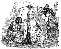 0058959 © Granger - Historical Picture ArchiveROBINSON CRUSOE.   Crusoe roasting a piece of kid goat while Friday looks on. Wood engraving from a 19th century edition of the book by Daniel Defoe.