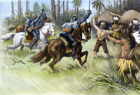 0072303 © Granger - Historical Picture ArchiveDE SOTO: FLORIDA, 1539.   Hernando de Soto's rescue of Juan Ortiz, a Spanish captive and survivor of the Narvaez expedition of 1528, during a battle with Florida Native Americans, 1539. Illustration by Alfred Russell, 1904.