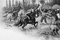0099457 © Granger - Historical Picture ArchiveDE SOTO: FLORIDA, 1539.   Hernando de Soto's rescue of Juan Ortiz, a Spanish captive and survivor of the Narvaez expedition of 1528, during a battle with Florida Native Americans, 1539. Illustration by Alfred Russell, 1904.