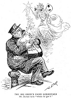 0064639 © Granger - Historical Picture ArchiveWILLIAM S. DEVERY CARTOON.   'The Big Chief's Fairy Godmother: Mr. Devery tells