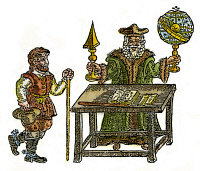 0029840 © Granger - Historical Picture ArchiveJOHN DEE (1527-1608).   English mathematician and astrologer. Dee, armed with celestial sphere and mathematical glass, with his collaborator, Edward Kelley: English woodcut, c1600.