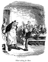 0005296 © Granger - Historical Picture ArchiveDICKENS: OLIVER TWIST.   'Oliver asking for more.' Etching by George Cruikshank to the first edition of Charles Dickens' 'Oliver Twist,' 1837-38.