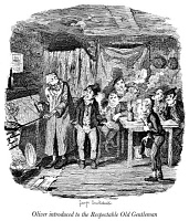0005297 © Granger - Historical Picture ArchiveDICKENS: OLIVER TWIST.   'Oliver introduced to the Respectable Old Gentleman.' Etching by George Cruikshank from the first edition of Charles Dickens' 'Oliver Twist,' 1837-1838.