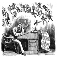 0006246 © Granger - Historical Picture ArchiveCHARLES DICKENS (1812-1870).   English novelist.'Charles Dickens's Legacy to the World.' Cartoon, American, 1870.