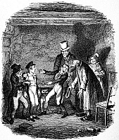0015697 © Granger - Historical Picture ArchiveDICKENS: OLIVER TWIST.   'Oliver's reception by Fagin and the boys.' George Cruikshank's etching for Charles Dickens' 'Oliver Twist,' 1837-1838.