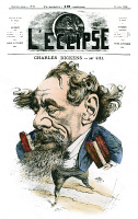 0071905 © Granger - Historical Picture ArchiveCHARLES DICKENS (1812-1870).   English novelist. Dickens straddling the English Channel on the front page of 'L'Eclipse,' Paris, 14 June 1868. Line engraving after André Gill.