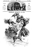 0072543 © Granger - Historical Picture ArchiveCHARLES DICKENS (1812-1870).   English novelist. Dickens straddling the English Channel on the front page of 'L'Eclipse', Paris, 14 June 1868: line engraving after André Gill.