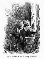 0115573 © Granger - Historical Picture ArchiveCHARLES DICKENS (1812-1870).   English novelist. The very young Charles Dickens working at a blacking warehouse in London. Wood engraving, late 19th century.