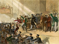0008855 © Granger - Historical Picture ArchiveFREDERICK DOUGLASS, 1860.   Speaking while a Boston mob and the police break up an abolitionist meeting in Tremont Temple, Dec. 3, 1860, commemorating John Brown's execution. Contemporary engraving.