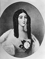 0014700 © Granger - Historical Picture ArchiveMARIE DUPLESSIS (1824-1847).   Assumed name of Alphonsine Plessis. French courtesan, the prototype of Marguerite Gautier in 'La Dame aux camelias' by Dumas Fils. Painting by Édouard Vienot.