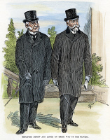 0047101 © Granger - Historical Picture ArchiveDEPEW AND LODGE.   Senators Chauncey Mitchell Depew (1834-1928) and Henry Cabot Lodge (1850-1924) on their way to the Capitol in Washington, D.C. Drawing, 1902, by Thomas Fleming.