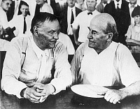 0002820 © Granger - Historical Picture ArchiveSCOPES TRIAL, 1925.   Clarence Darrow (left) and William Jennings Bryan during a lull in the Scopes Trial at Dayton, Tennessee, in 1925.