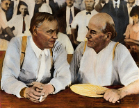 0048642 © Granger - Historical Picture ArchiveSCOPES TRIAL, 1925.   Clarence Darrow (left) and William Jennings Bryan during a lull in the Scopes Trial in Dayton, Tennessee. Oil over a photograph, 1925.