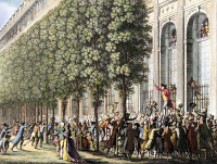 0009037 © Granger - Historical Picture ArchiveFRENCH REVOLUTION, 1789.   Camille Desmoulins haranguing Parisians at the Palais Royal on 12 July 1789, two days before the taking of the Bastille and the actual beginning of the French Revolution. French line engraving by Jean-Louis Prieur, early 19th century.