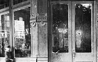 0072309 © Granger - Historical Picture ArchiveCONDON & COMPANY BANK.   Photograph of the Condon & Co. Bank in Coffeyville, Kansas after the unsuccessful attept at robbery by the Dalton Brothers on 5 October, 1892. Shattered windows and pocked walls attest to the fatal fire power directed at the bandits.