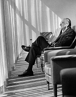 0170620 © Granger - Historical Picture ArchiveJOHN FOSTER DULLES   (1888-1959). American lawyer and diplomat. Dulles sitting in the Delegates Lounge at the United Nations in New York City, 1956.