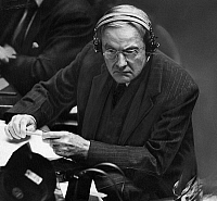 0170622 © Granger - Historical Picture ArchiveJOHN FOSTER DULLES   (1888-1959). American lawyer and diplomat. Dulles listens to Russian foreign minister Andrei Vishinsky accuse him of being a warmonger, at the United Nations General Assembly, c1950.